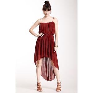 BCBG Dress Pleated High Low Dark Paprika Large